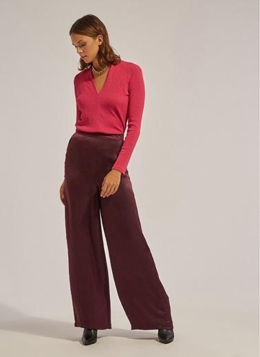Monamoda Monamoda Saten Bol PaÇa Fermuarlı Kadın Pantolon Mürdüm